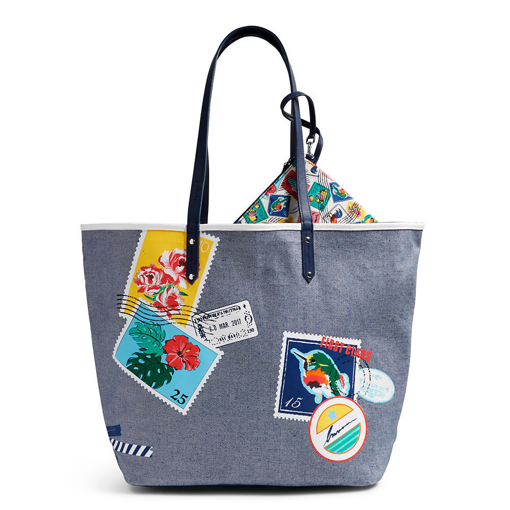 Vera Bradley Beach Tote in Oxford Postage Stamps