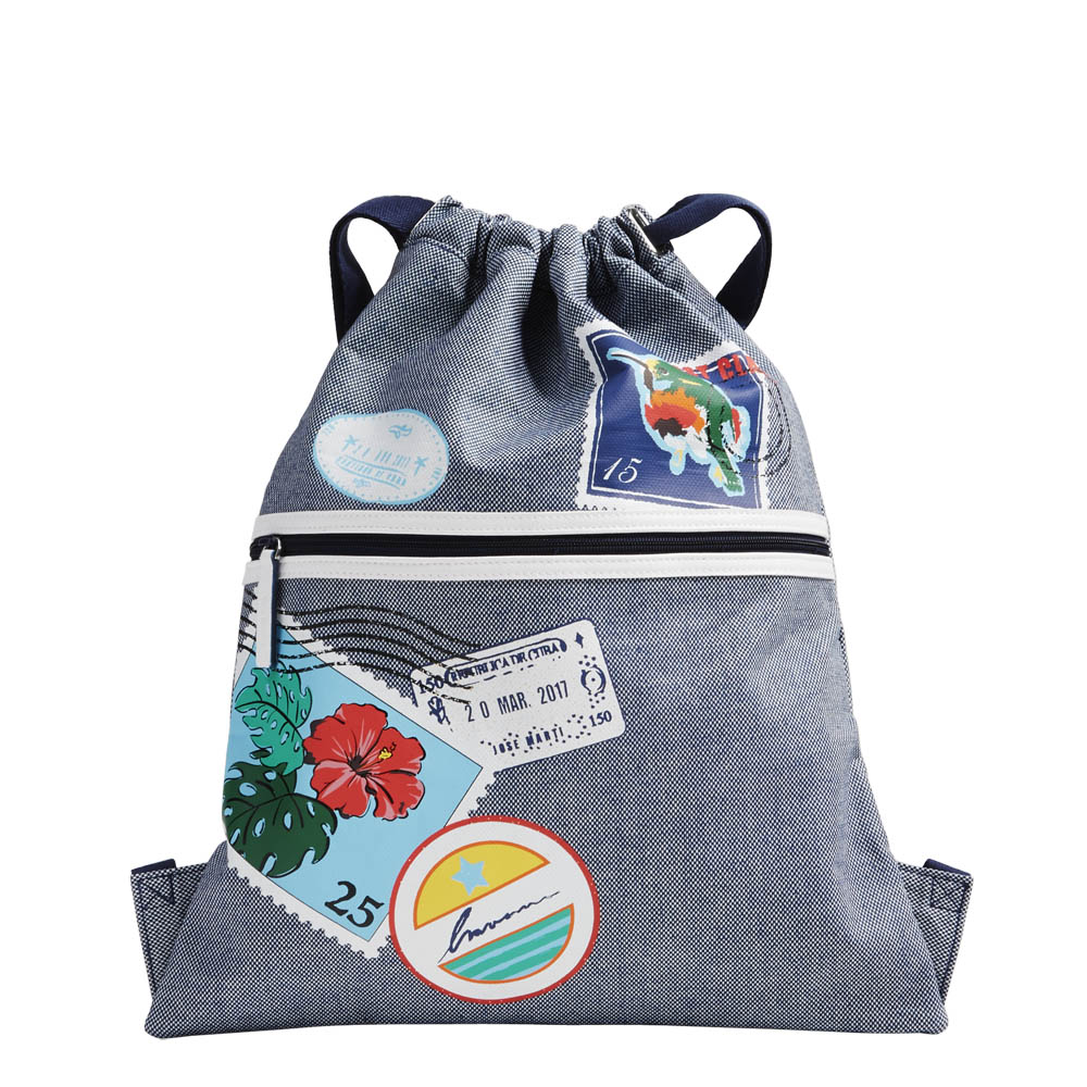 Vera Bradley Beach Backsack in Oxford Postage Stamps