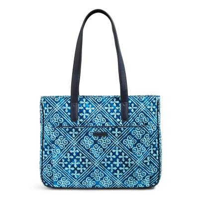 Commuter Tote in Cuban Tiles with Navy