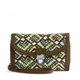 Vera Bradley Ultimate Wristlet in Rain Forest with Brown