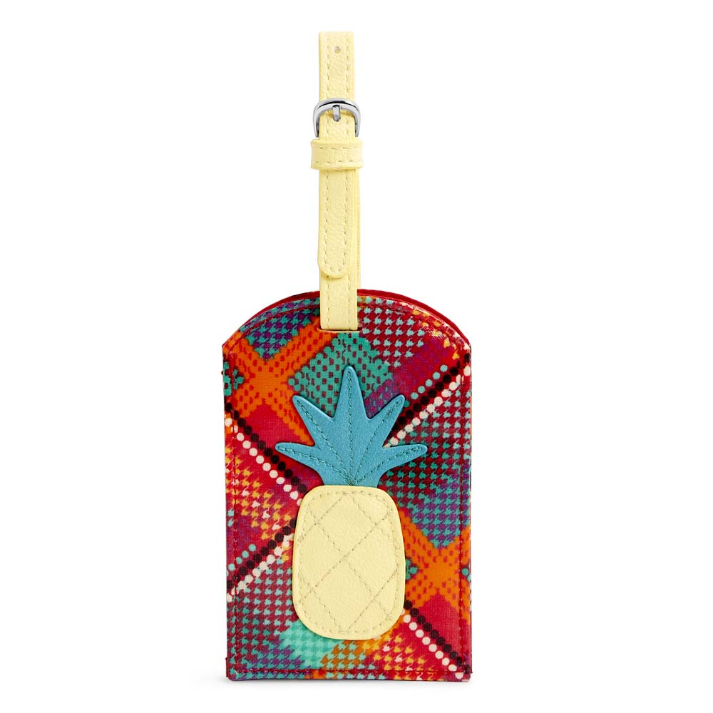 Vera Bradley Pineapple Luggage Tag in Rumba Grid