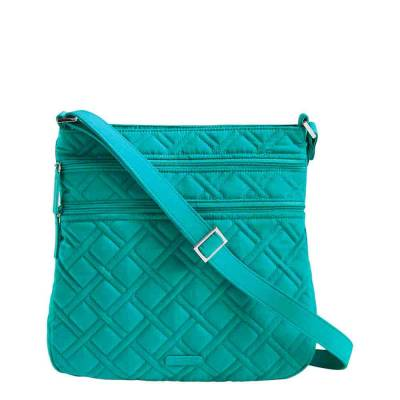 Triple Zip Hipster Crossbody in Turquoise Sea