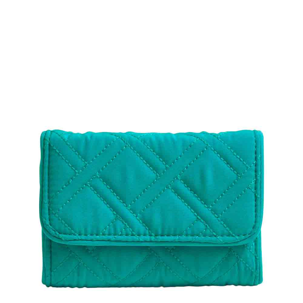 Vera Bradley RFID Riley Compact Wallet in Turquoise Sea