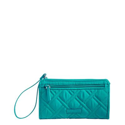 RFID Front Zip Wristlet in Turquoise Sea