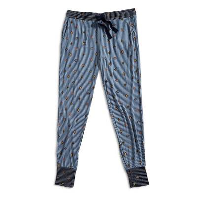 Lounge Pajama Pants in Pinstripe Medallions Blue