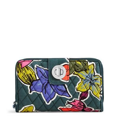 RFID Turnlock Wallet in Falling Flowers