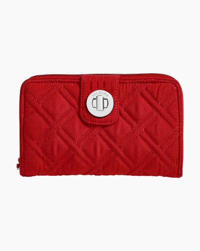 RFID Turnlock Wallet in Cardinal Red