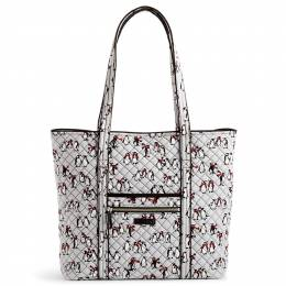 Vera Bradley Iconic Vera Tote in Playful Penguins Gray