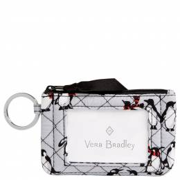 Vera Bradley Iconic Zip ID Case in Playful Penguin Gray
