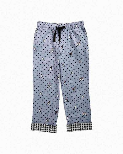 Flannel Pajama Pants in Playful Penguins Gray