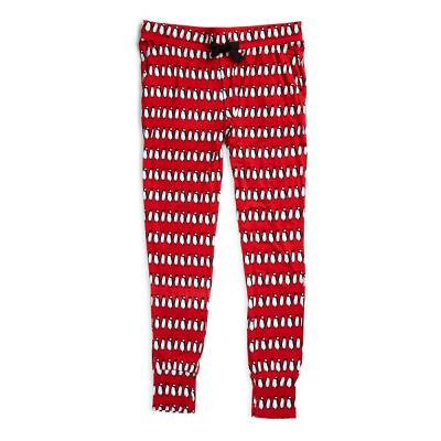 Knit Pajama Pants in Playful Penguins Red