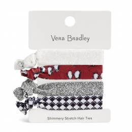 Vera Bradley Shimmery Stretch Hair Ties in Playful Penguin Gray