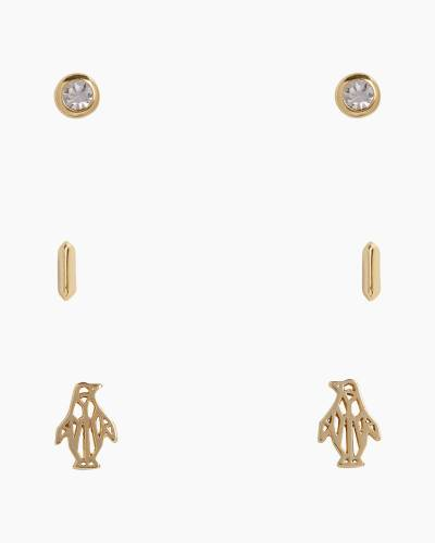 Penguin Stud Earring Set in Gold