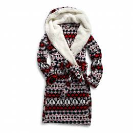Vera Bradley Hooded Fleece Robe in Penguin Intarsia