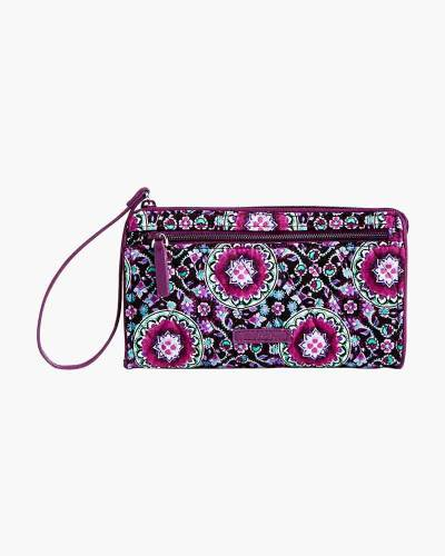 RFID Front Zip Wristlet in Lilac Medallion