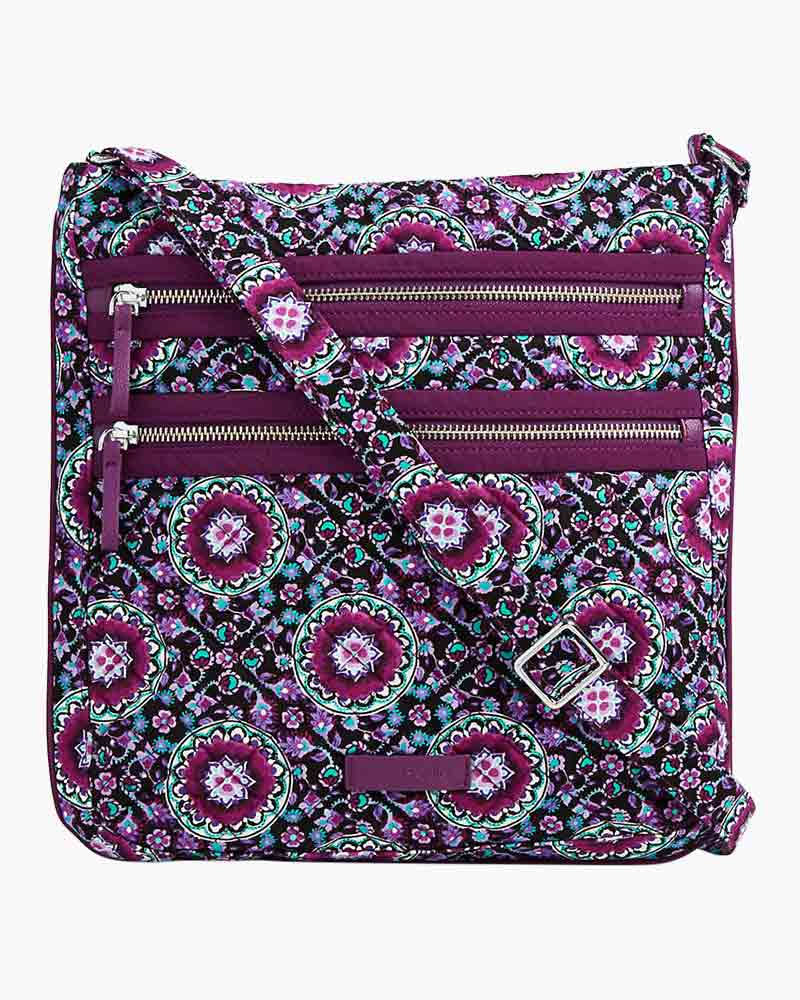 Vera Bradley Iconic Triple Zip Hipster In Lilac Medallion