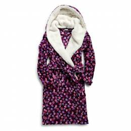 Vera Bradley Hooded Fleece Robe in Berry Bust