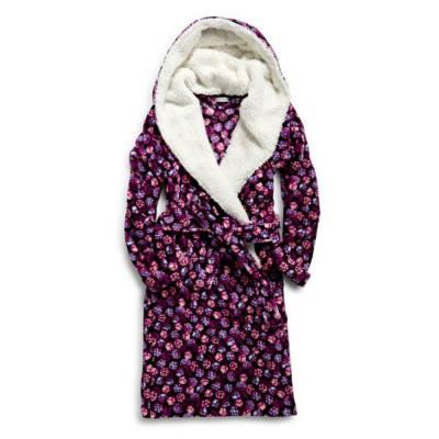 Hooded Fleece Robe in Berry Bust