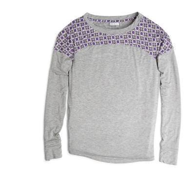 Long Sleeve Pajama Top in Lilac Foulard