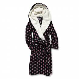 Vera Bradley Hooded Fleece Robe in Winter Berry
