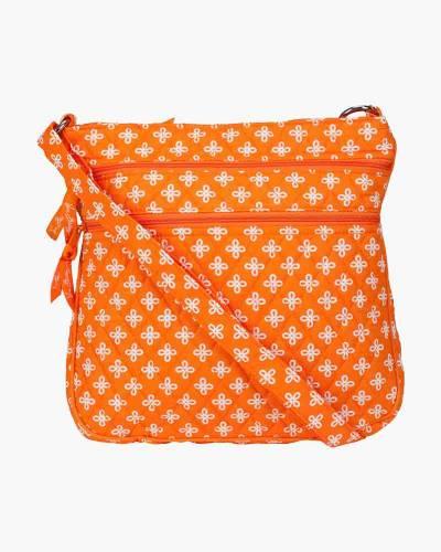 Triple Zip Hipster Crossbody in Orange/White