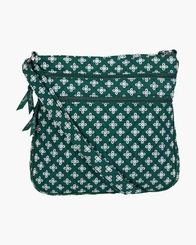 Triple Zip Hipster Crossbody in Green/White