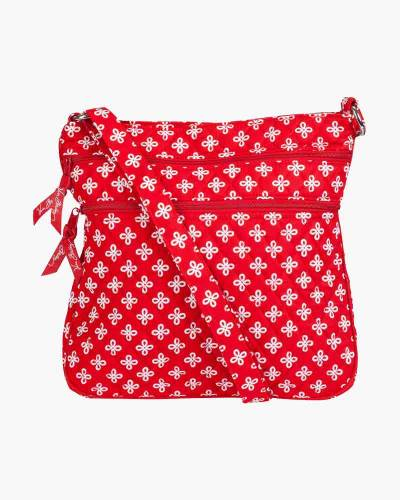Triple Zip Hipster Crossbody in Red/White