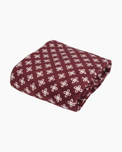 Throw Blanket in Maroon/White