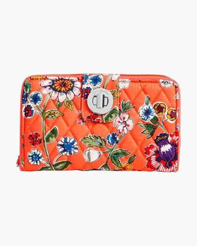 RFID Turnlock Wallet in Coral Floral