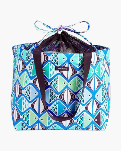 Drawstring Family Tote in Go Fish Teal