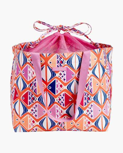 Drawstring Family Tote in Go Fish Coral