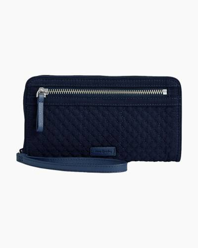 Iconic RFID Front Zip Wristlet in Classic Navy