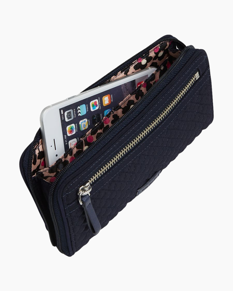 Iconic RFID Front Zip Wristlet in Classic Navy Alternate View