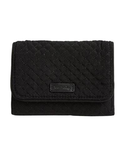 Iconic RFID Riley Compact Wallet in Classic Black