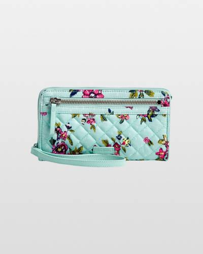 Iconic RFID Front Zip Wristlet in Water Bouquet