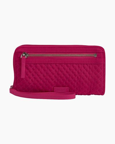 Iconic RFID Front Zip Wristlet in Passion Pink