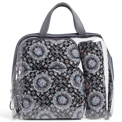 Iconic 4 Pc. Cosmetic Set in Charcoal Medallion