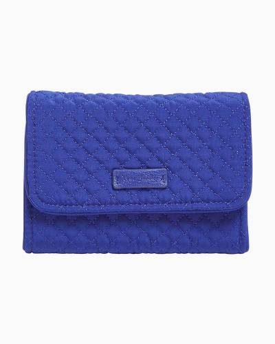 Iconic RFID Riley Compact Wallet in Microfiber Gage Blue