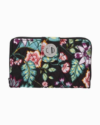 RFID Turnlock Wallet in Vines Floral