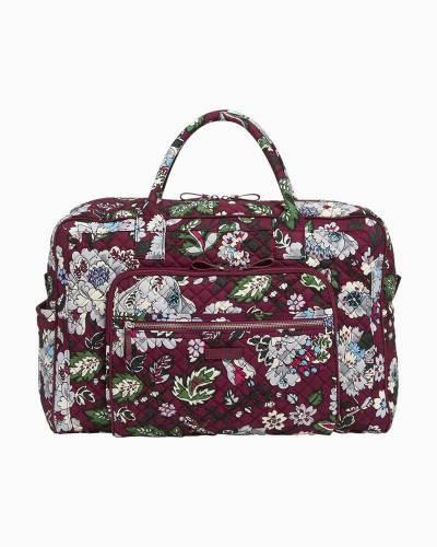 Iconic Weekender Travel Bag in Bordeaux Blooms