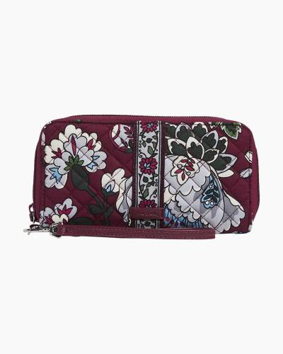 Iconic Double Accordion Wristlet in Bordeaux Blooms