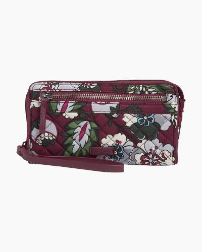 Iconic RFID Front Zip Wristlet in Bordeaux Blooms