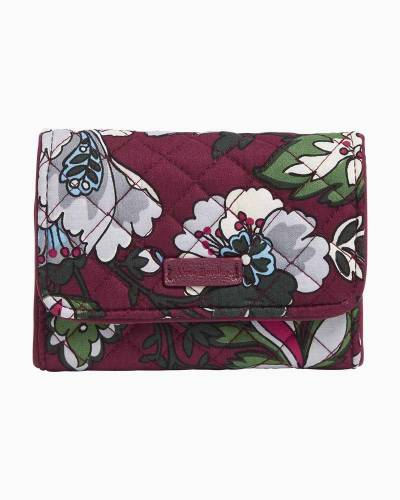 Iconic RFID Riley Compact Wallet in Bordeaux Blooms