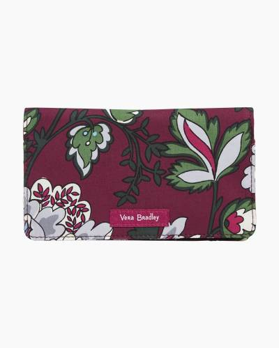 Iconic Checkbook Cover in Bordeaux Blooms