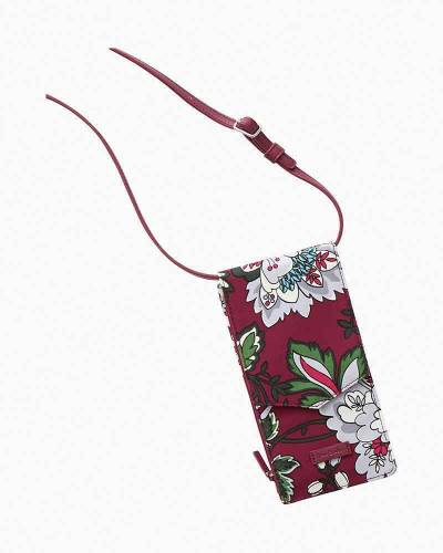 Iconic RFID Envelope Crossbody In Bordeaux Blooms