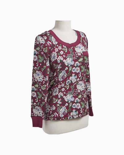 Henley Knit Pajama Top in Bordeaux Blooms