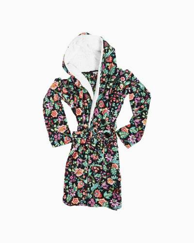Hooded Fleece Robe in Vines Floral