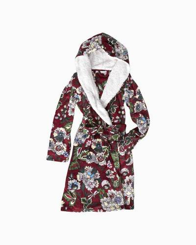 Hooded Fleece Robe in Bordeaux Blooms