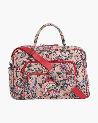 Iconic Weekender Travel Bag in Stitched Flowers