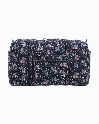 Iconic Large Travel Duffel in Holiday Owls